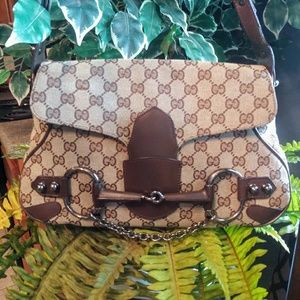 Auth Vintage Gucci Horsebit Shoulder Bag